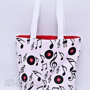 Torba na zakupy nutki bawełniana Shopperka, torba, shopperka, muzyka, nuty,