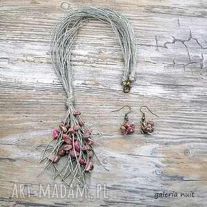 Rodonit - komplet biżuterii lnianej, rodonit, minerały, lekki, zwiewny, delikatny
