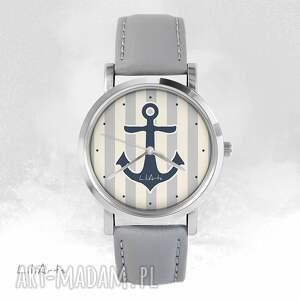 handmade zegarki zegarek - kotwica szary, skórzany