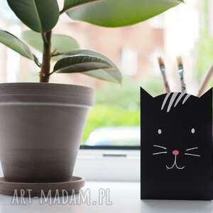 Duży czarny kot - pojemnik na kredki ołówki długopisy pokoik