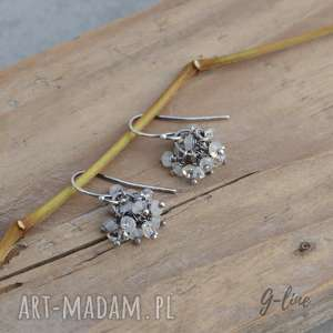 Kamień księżycowy i diamenty z Herkimer. Kolczyki srebrne, herkimer, kamień