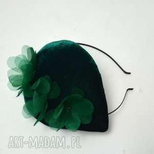 oryginalny prezent, zielona ŁĄka, fascynator, zielony, welur, jedwab, kwiaty