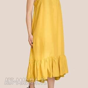 żółta sukienka z falbaną, kanarkowy, marszczona, ramiona, kokardki, wiązanie