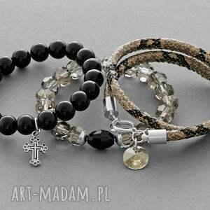 lavoga black jade smokey crystals & snake strap with pendants - czarne bransoletki