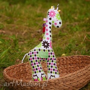 ręcznie zrobione zabawki żyrafka sówki zielona