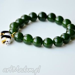bransoletki bracelet by sis panda w zielonych kamieniach, kamienie, jadeit,