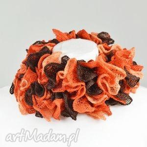 hand made szaliki fantazyjny szal - brązy