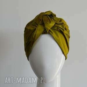 czapki jedwabny turban, jedwab, szantung, zielony, oliwka