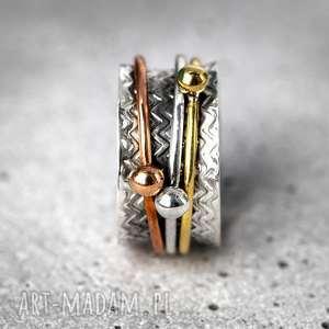 925 srebrny pierścionek medytacja - pozłacane, ezoteryka, prezent
