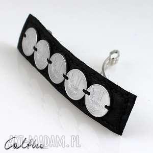 grosiki - klamra caltha jewellery, klamra, spinka, skórzana, grosz, grosik