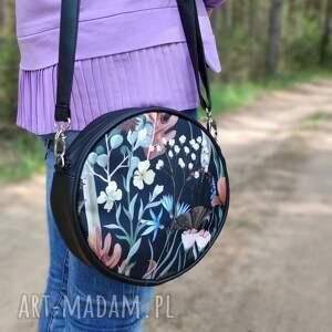 na ramię round bag - jesienna łąka, elegancka, nowoczesna, kwiaty, las, prezent