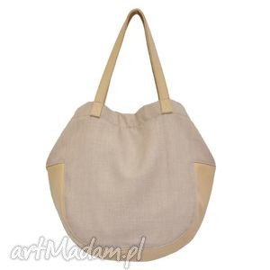 24-0013 beżowa torebka damska worek / torba na studia swallow, duże, modne, torebki