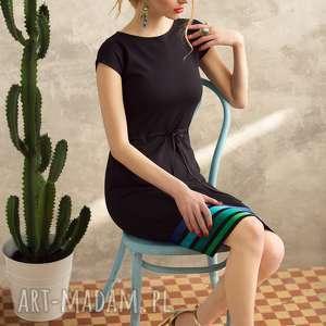 prezent na święta, sukienki sukienka w pasy cool, sukienka, czarna, prosta