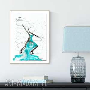 grafika 30x40 cm wykonana ręcznie, turkusowy, abstrakcja-taniec, abstrakcja-do-sypial