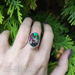 srebrny pierścionek z topazem mistycznym imitacja, topaz mistyczny, surowy