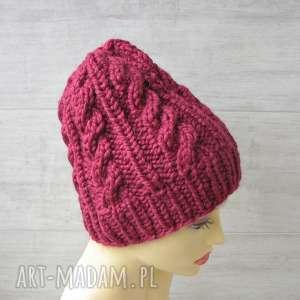 gruba czapka malina alpaka, czapka-zimowa, wełna, narty, góry