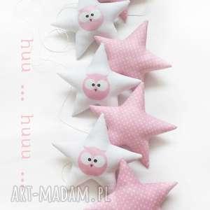 owl pink - girlanda, sówka, gwiazdka, gwiazdki, sowa, pokoik dziecka