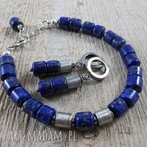 Satynowe walce z lapis lazuli - kolczyki, srebro, oksydowane