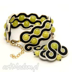 komplet biżuterii sutasz z jadeitami, sznurek, limonkowe, bransoletka, kolczyki