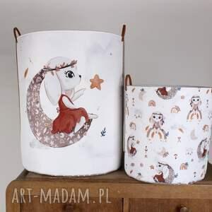 handmade pokoik dziecka komplet dwóch pojemników królik na tęczy