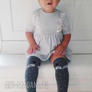 Szara sukienka z korona !, sukienka, koronka, dzianina, bawełna, rozkloszowana,