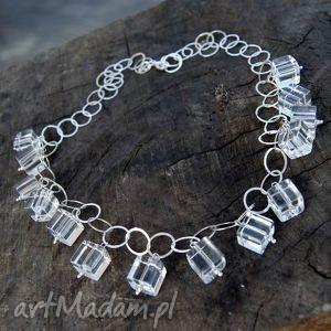 Kryształowe kostki naszyjnik A183 , naszyjnik, srebrny, kryształgórski,