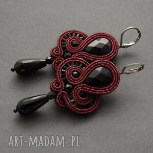 Kolczyki sutasz z onyksami sisu sznurek, eleganckie, wyjściowe