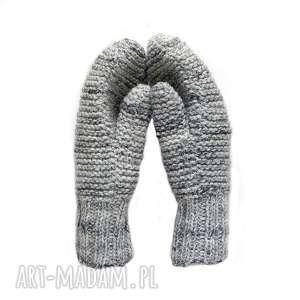 Dwuwarstwowe jasno szare - melanż, rękawiczki, wełniane, mitenki, dziergane