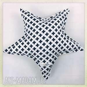 Poduszka gwiazdka biało czarna w plusy, gwiazdka, pillow