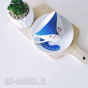 filiżanka 400 ml ręcznie malowana niebieski kot, malowana, porcelanowa