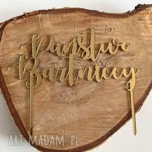 topper złoty lustrzany z personalizacją, na tort, ślub