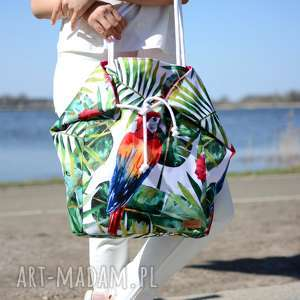 duża torba na ramię,na miasto, plażę w papugi i hawajskie kwiaty, ramię