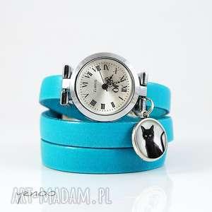 zegarki zegarek, bransoletka - czarny kot niebieski, skórzany