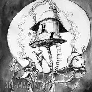 OSIEDLE DOMKÓW OSOBISTYCH rysunek piórkiem z dodatkiem akwareli artystki Adriany