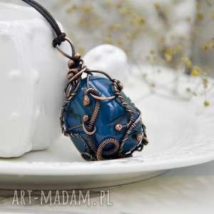 Prezent Agat niebieski w miedzi - naszyjnik z wisiorem stylu hippie/boho