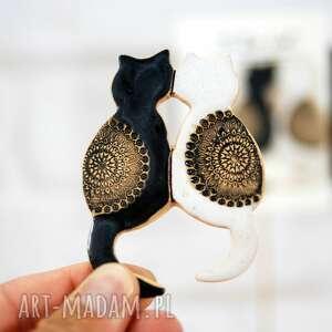 magnesy czarny kot i biały - magnes na lodówkę