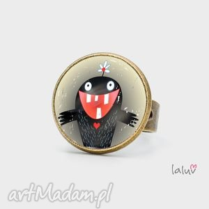 pierścionki pierścionek monster of love, potworek, miłość, serce, zęby, słodki