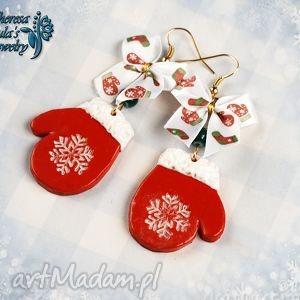 świąteczne kolczyki mikołajowe rękawiczki, świąteczne, kolczyki, rękawiczki