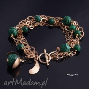 monle malachit w złocie bransoletka - biżuteria, pozłacane