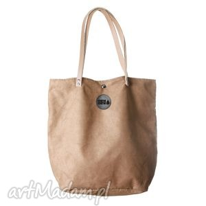 torba mysza simple beż, worek, beżowa, skóra, prezent, haft torebki