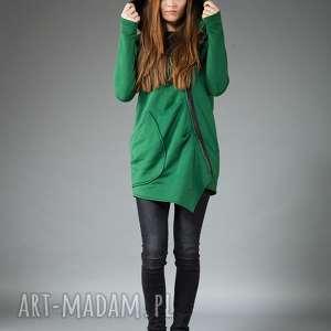 bluzy bluza ashmita zielona navahoclothing, bluza, płaszcz, dzianina, asymetryczna