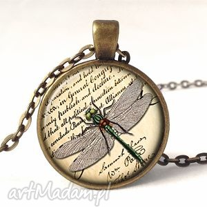 ręcznie robione naszyjniki ważka na gazecie - medalion z łańcuszkiem