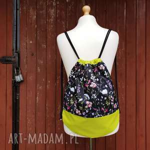 plecak worek kwiaty - ,plecak,worek,kwiaty,łąka,wiosenny,romantyczny,