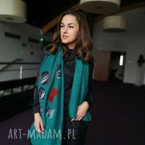 turkusowy szal damski zimowy z wełną merynosów handmade, turkus, łezki, szal, chusta