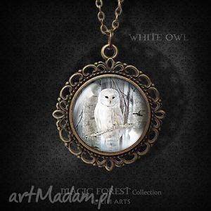 hand-made naszyjniki medalion, naszyjnik - sowa romantyczny, antyczny brąz