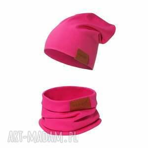 ręcznie robione czapki komplet czapka i komin amarantowy