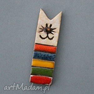miau-broszka ceramiczna - minimalistyczna, kot, kociara, prezent, urodziny, przypinka