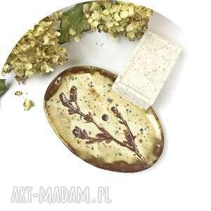 ceramiczna mydelniczka jesień, polskie rzemiosło, polska ceramika, ręcznie