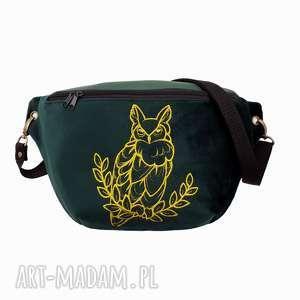 nerka xxl szmaragdowa zieleń i złoto - ,nerka,torebka,oversize,haft,sowa,las,