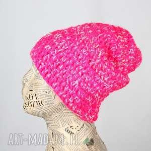czapki czapka beanie kolorowa ciepła z włóczki 009, czapki, kolorwa